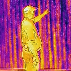 Heat sensor image of a person