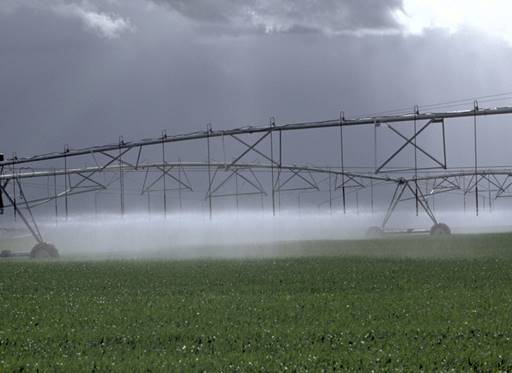 Irrigation equipment watering crops
