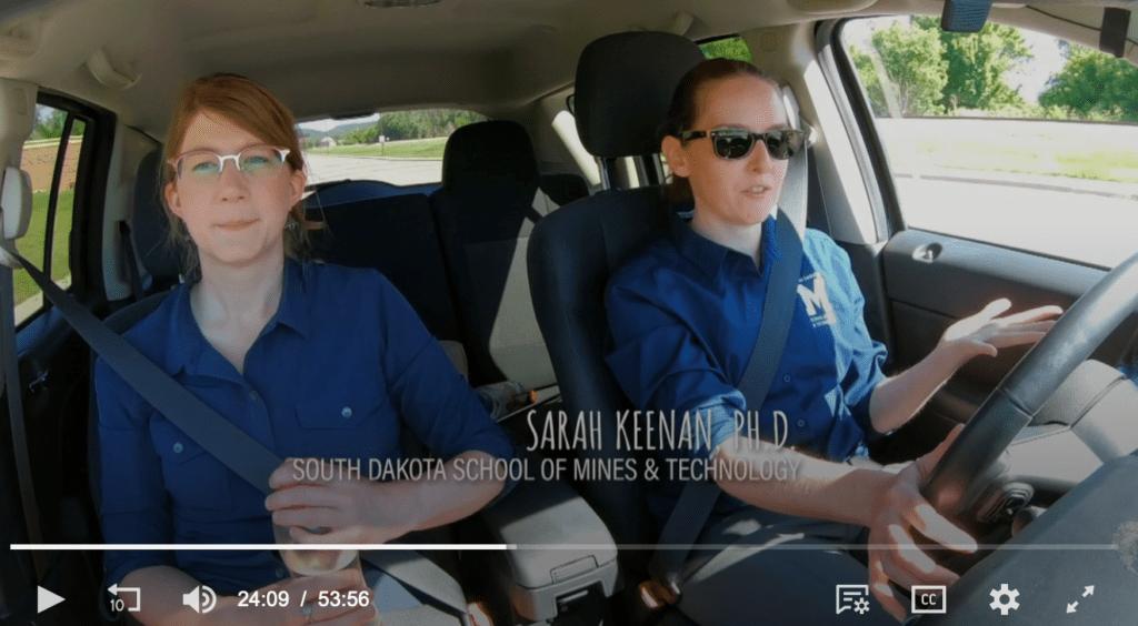 "Snapshot of Dr. Sarah Keenan from new PBS show, ""Prehistoric Road Trip""."