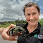 Dr. Andrea Ludwig with a turtle